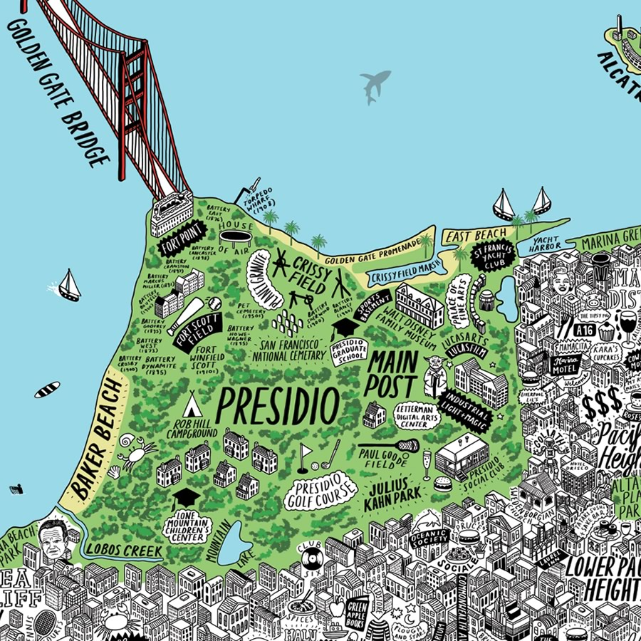 MindBlowingly Detailed HandDrawn Map of SF  The Bold Italic