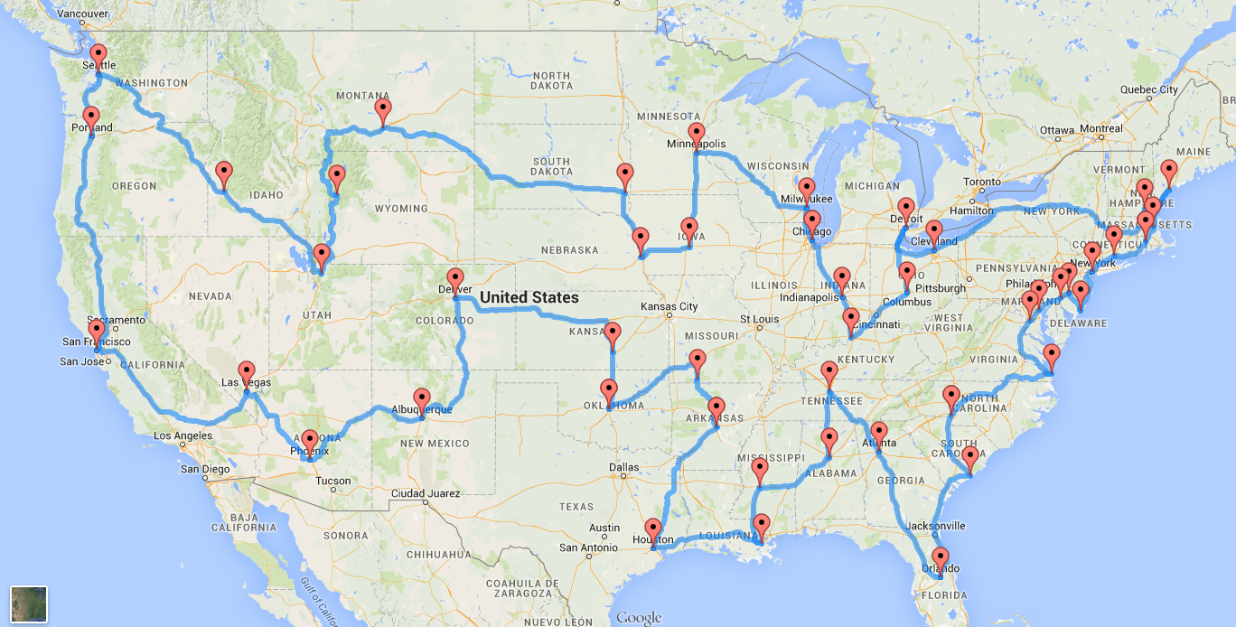 This Is The Perfect US Road Trip According To Scientists - Map usa road
